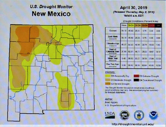 The Drought monitor map for New Mexico includes only a small portion of southeast Lincoln County.