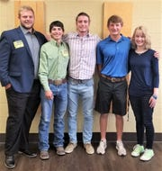 Recipients of the 2019 scholarships from Ruidoso Rotary are from left, Shane Barnwell from Capitan High School, Porfirio Romero from Hondo High School, and Blake Houldsworth, Connor Jameson and Morgan Chase from Ruidoso High School.