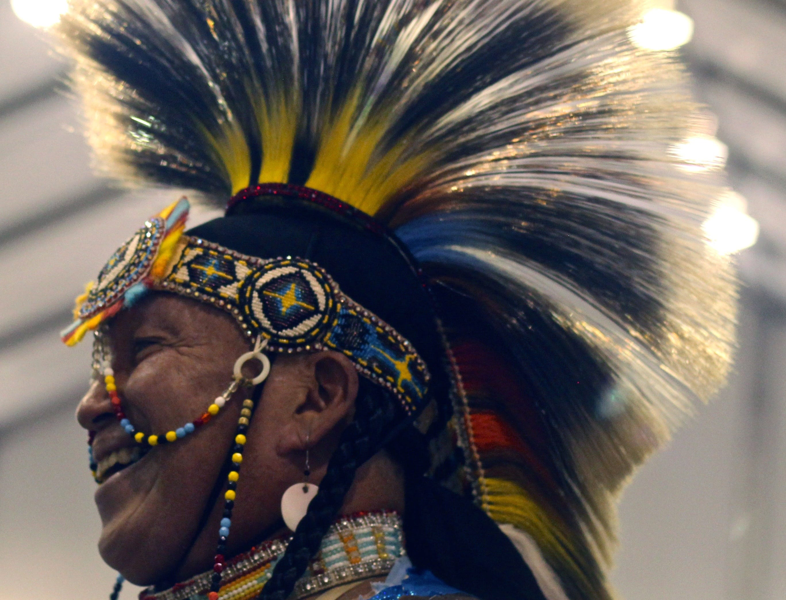A participant smiles as he performs during the 25th Annual Thunder and Lightning Powwow at Morongo Casino Resort and Spa.
