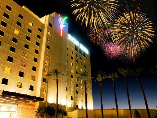 Fireworks light up the sky during a fireworks show at Fantasy Springs Resort Casino in Indio.