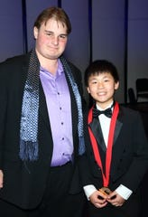 Donor Leo Milmet, left, with Junior 1st Place Concerto and Solo Winner Nathaniel Zhang of Sacramento.
