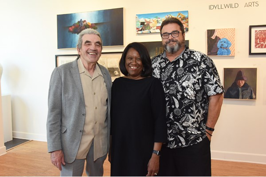 From left: Idyllwild Arts Visual Arts Chair David Reid-Marr, Idyllwild Arts President and Head of School Pamela Jordan, and Idyllwild Arts Board Chair Jeff Dvorak