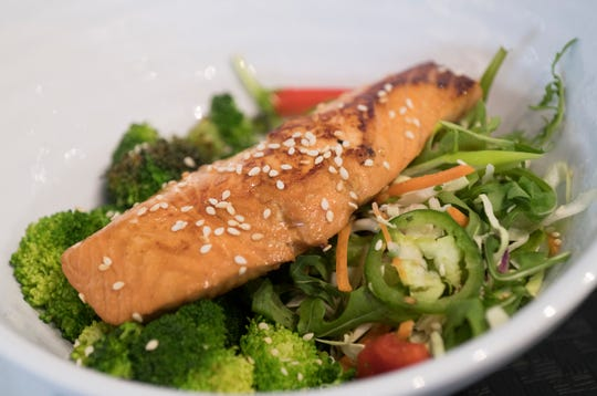IQ Eatery, a new restaurant located on Barrancas Ave offers diners a variety of menu option such as the Orangey Salmon.