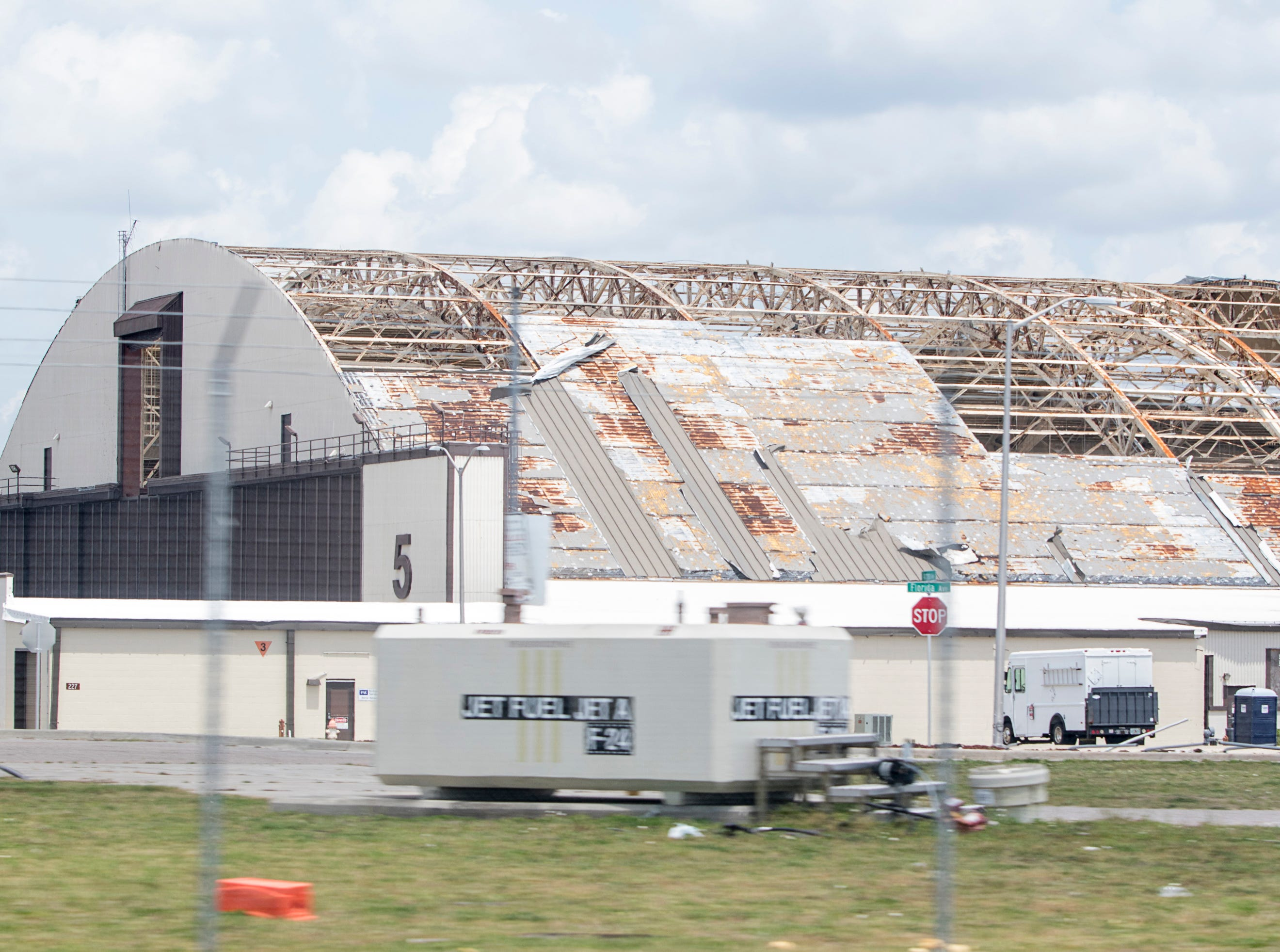 Widespread damage is still clearly seen across Tyndall Air Force Base in the Panama City area of Florida on Wednesday, May 8, 2019.  Michael made landfall as a Category 5 hurricane between Mexico Beach and Tyndall Air Force Base on October 10, 2018.