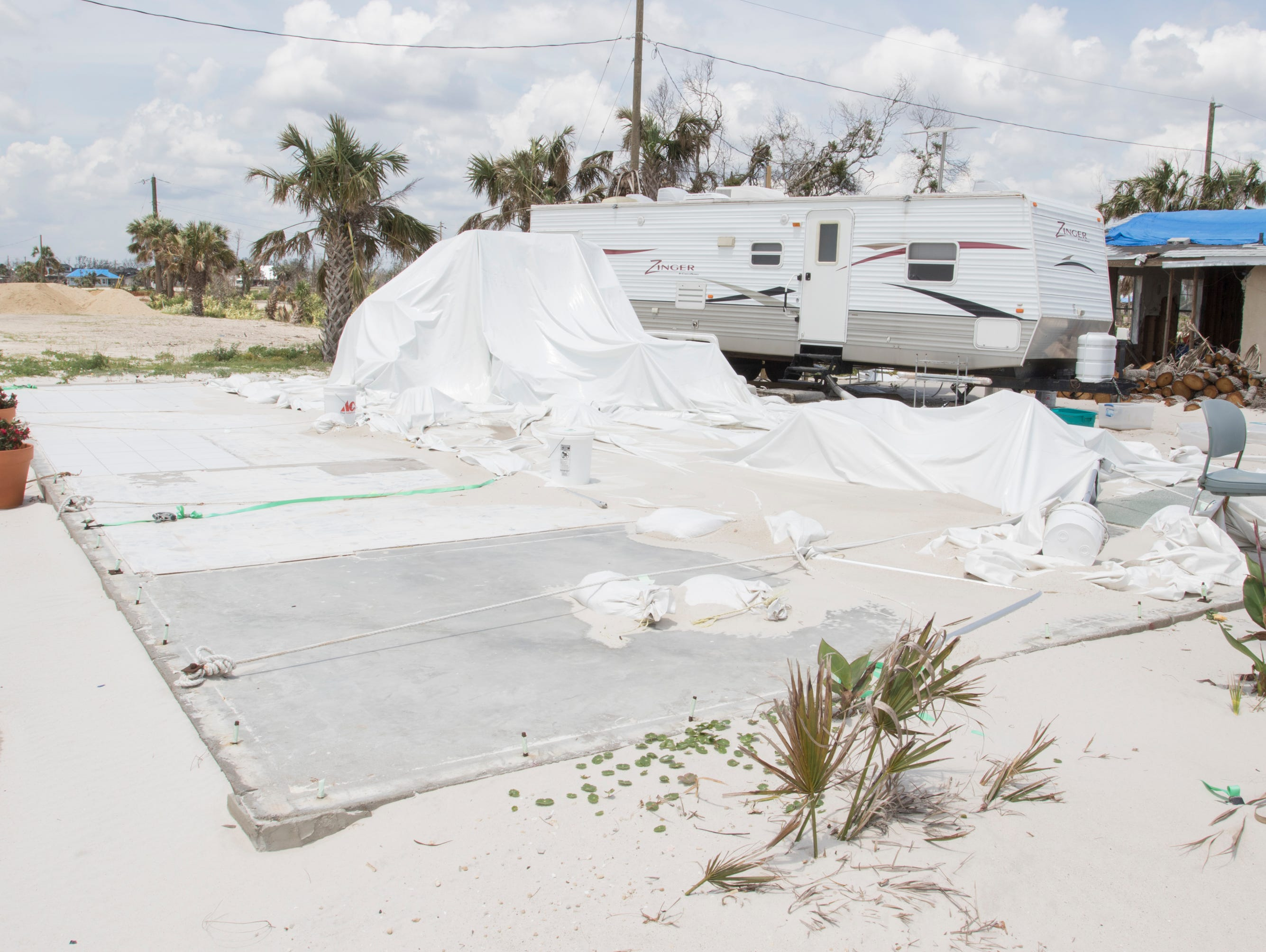 After also losing his house, David Gieseking, pastor of Living Water Church at the Beach, currently lives in an RV next to the foundation of his former church in Mexico Beach on Wednesday, May 8, 2019.