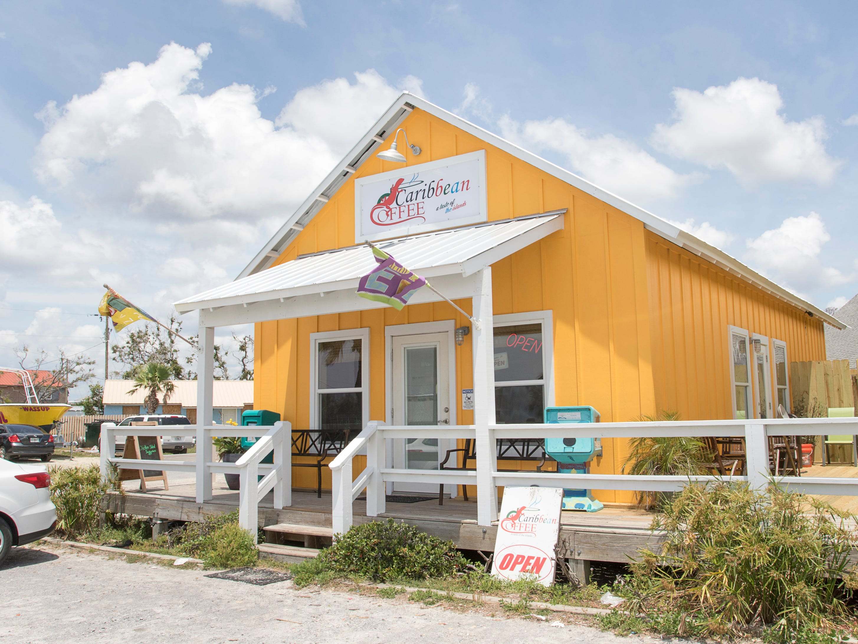 The Caribbean Coffee shop is open for business in Mexico Beach, Florida on Wednesday, May 8, 2019.  Michael made landfall as a Category 5 hurricane between Mexico Beach and Tyndall Air Force Base on October 10, 2018.