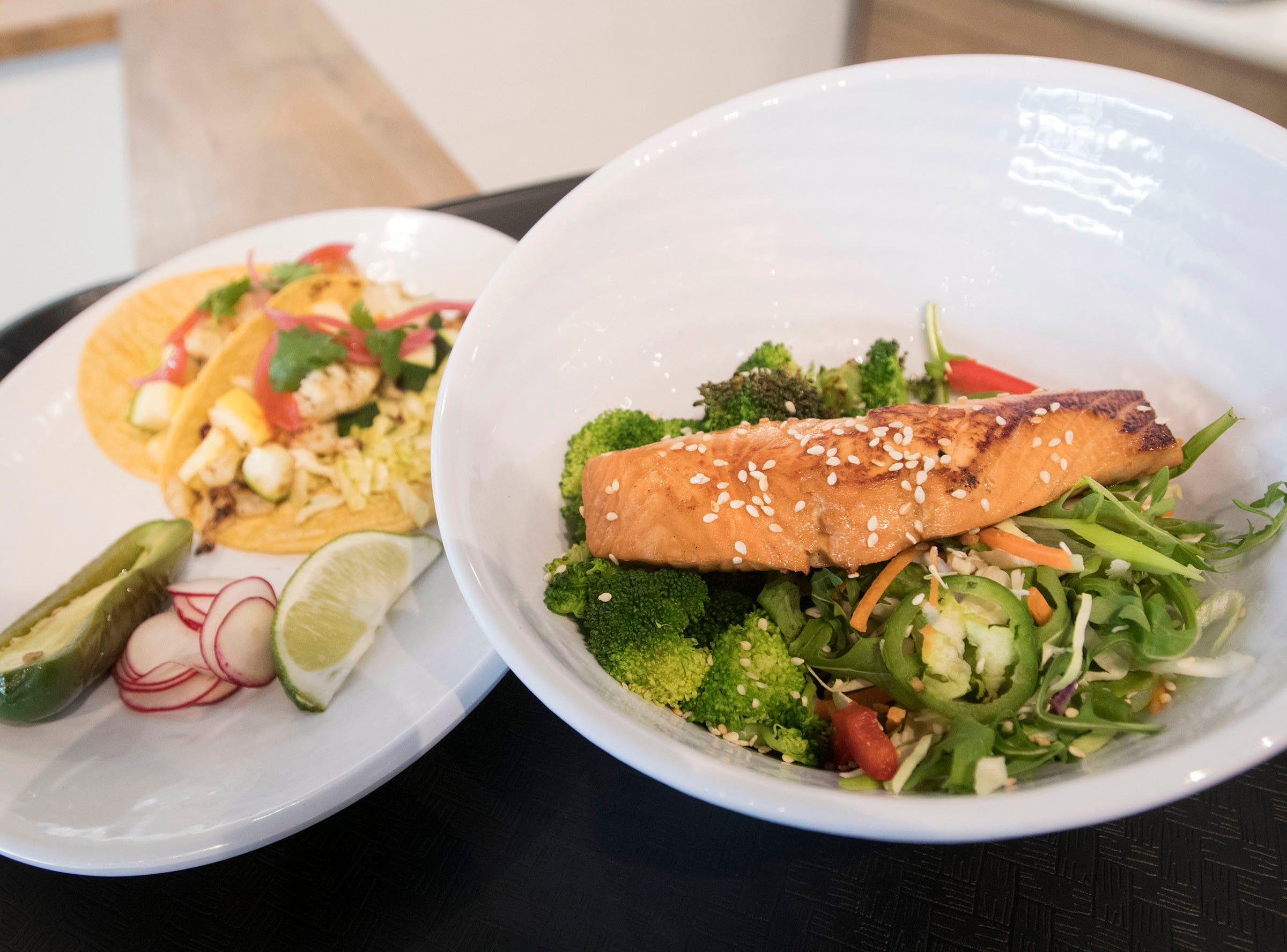 IQ Eatery, a new restaurant located on Barrancas Ave offers diners a variety of clean and healthy menu options such as the Veggie Tacos and the Orangey Salmon.
