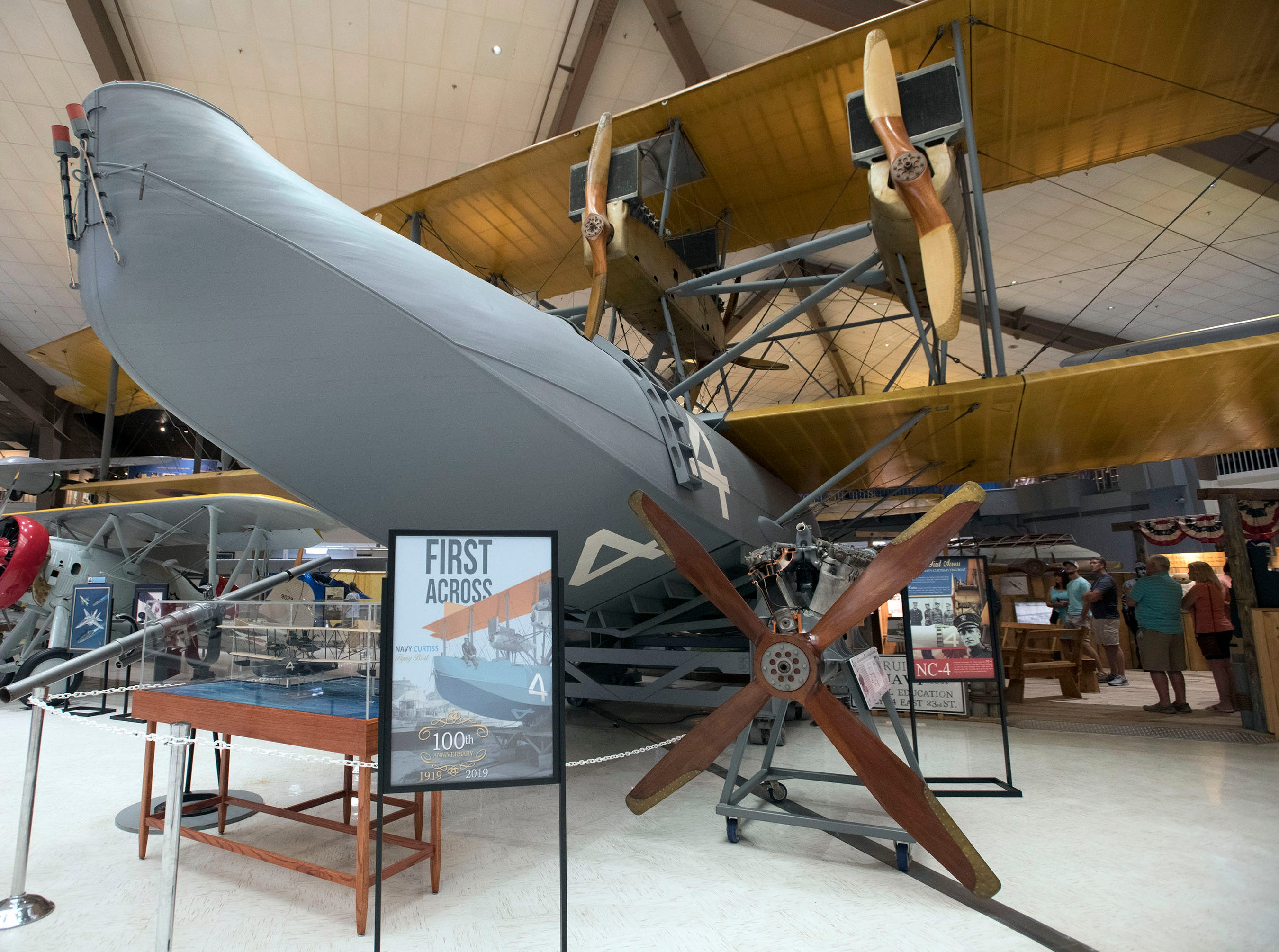 Visitors can get a good look at the NC-4 seaplane on display at the National Naval Aviation Museum on Thursday, May 9, 2019. The National Naval Aviation Museum is celebrating the 100th anniversary of the Navy's flight across the Atlantic Ocean in May.