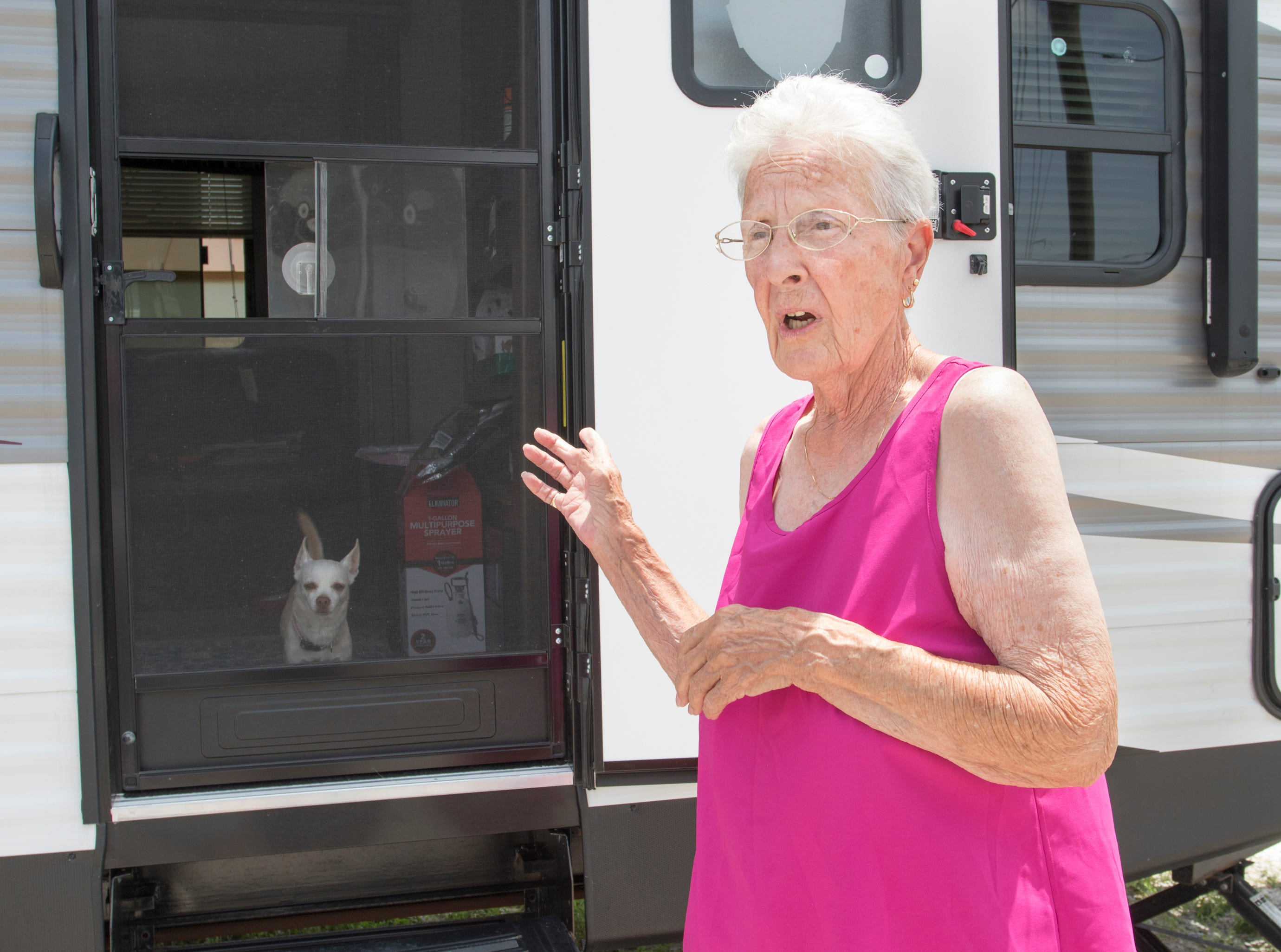 Diane Pugh talks about surviving Hurricane Michael with her dog Zoey.  Pugh currently lives in an RV in front of her house while it is being repaired in Mexico Beach, Florida on Wednesday, May 8, 2019.