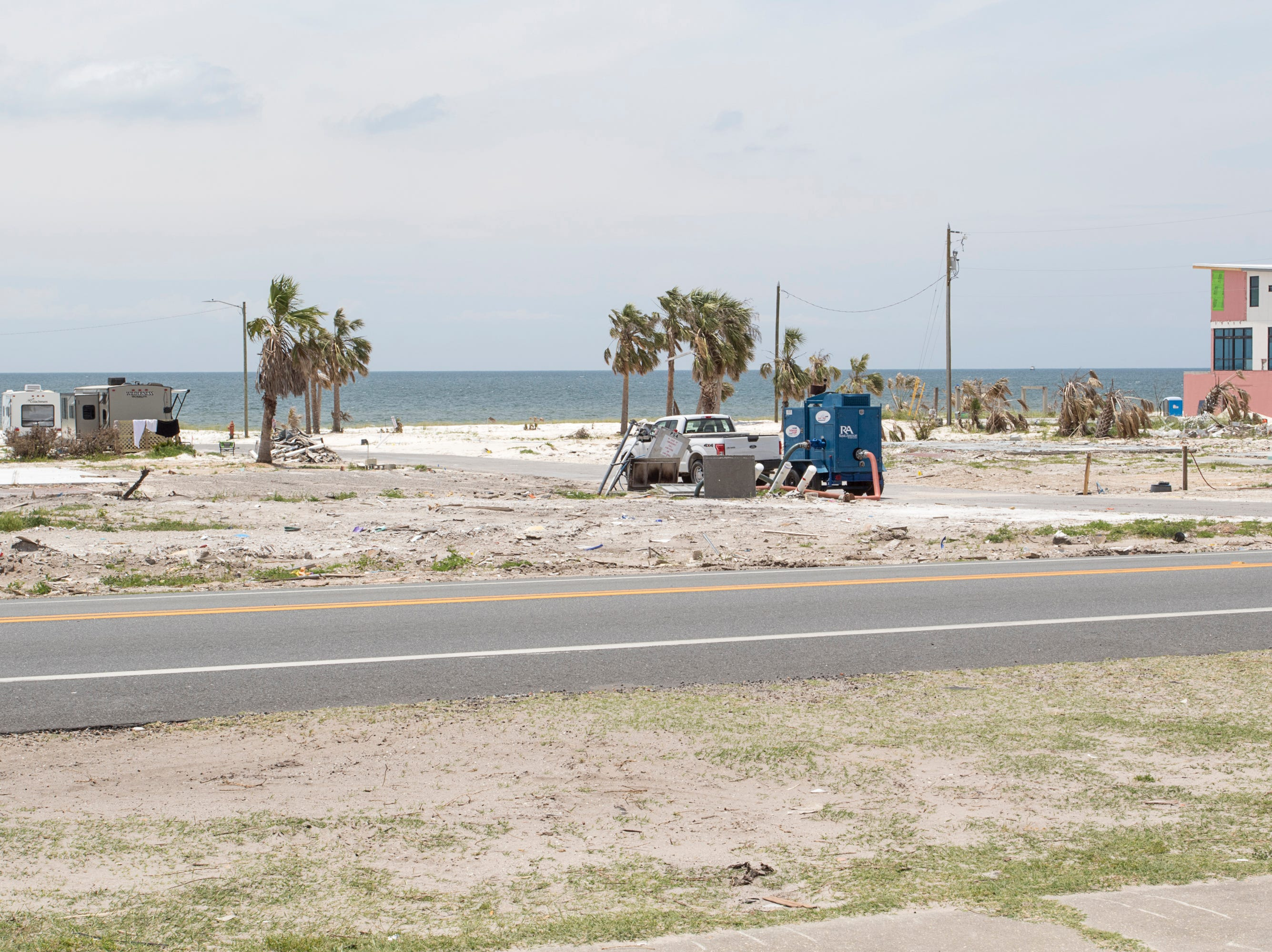 Once filled with houses, now there is mostly nothing but sand along great stretches between Rt. 98 and the Gulf of Mexico after Hurricane Michael in Mexico Beach, Florida on Wednesday, May 8, 2019.  Michael made landfall as a Category 5 hurricane between Mexico Beach and Tyndall Air Force Base on October 10, 2018.
