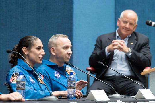 Maj. Jasmin Moghbeli describes her training as an astronaut during a panel discussion Thursday with Marine Col. Randy Bresnik, former International Space Station commander, and National Naval Aviation Museum Director Sterling Gilliam at the museum.