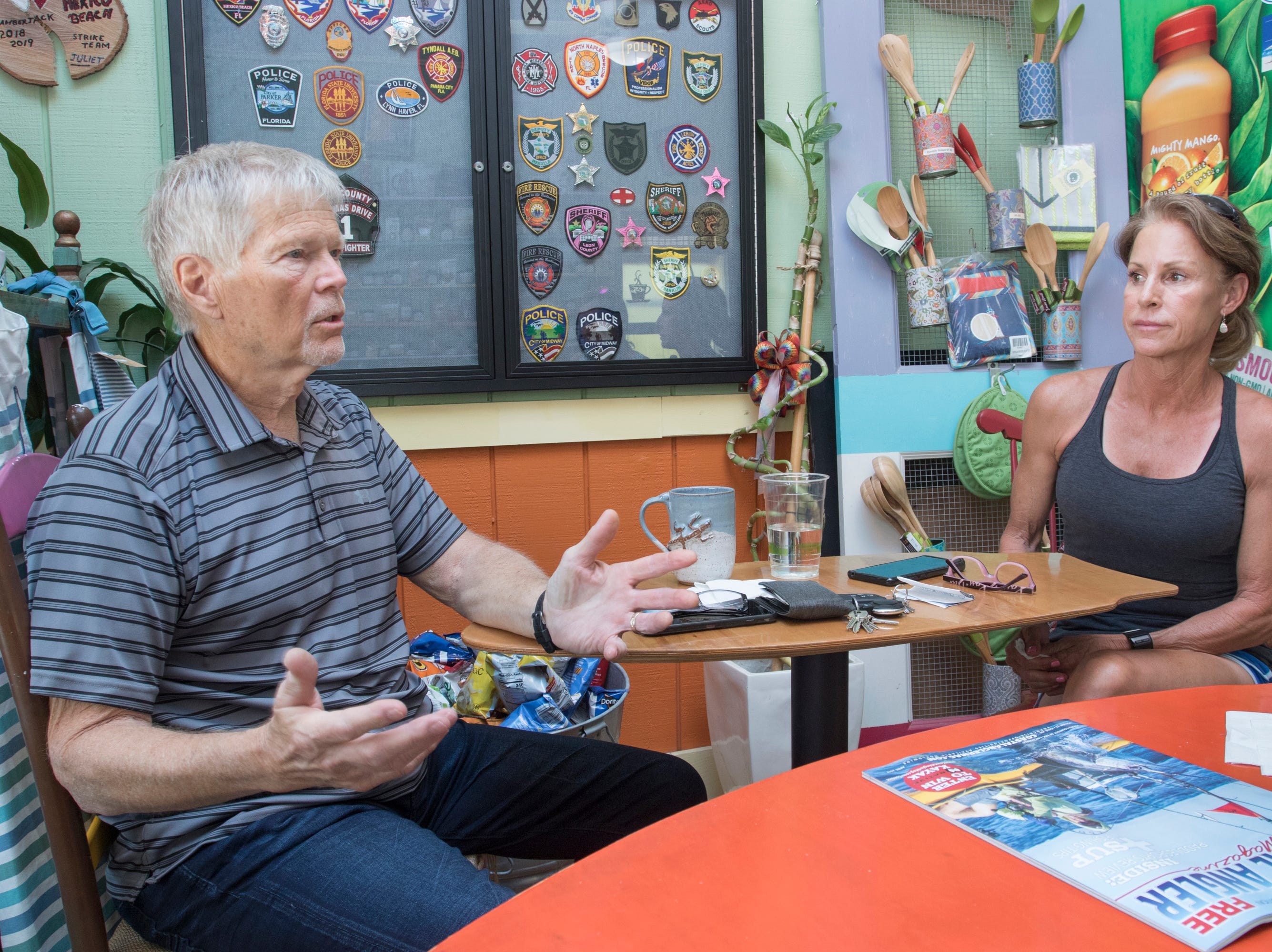 Local residents Charlie and Dana Black talk about surviving Hurricane Michael in the Mexico Beach area of Florida on Wednesday, May 8, 2019.  Michael made landfall as a Category 5 hurricane between Mexico Beach and Tyndall Air Force Base on October 10, 2018.