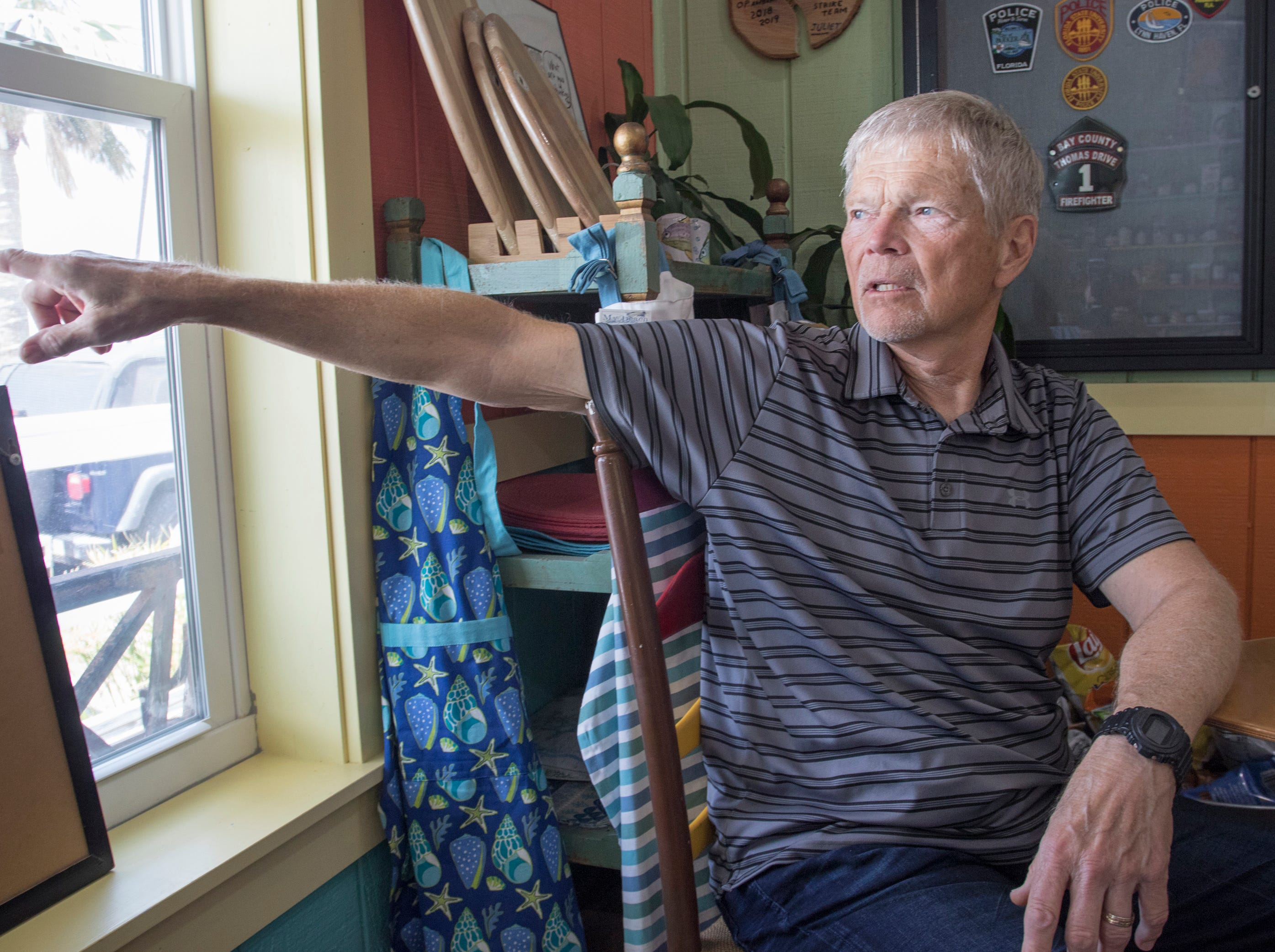 Local resident Charlie Dana Black talks about surviving Hurricane Michael and the great damage it did to the Mexico Beach area of Florida on Wednesday, May 8, 2019.  Michael made landfall as a Category 5 hurricane between Mexico Beach and Tyndall Air Force Base on October 10, 2018.