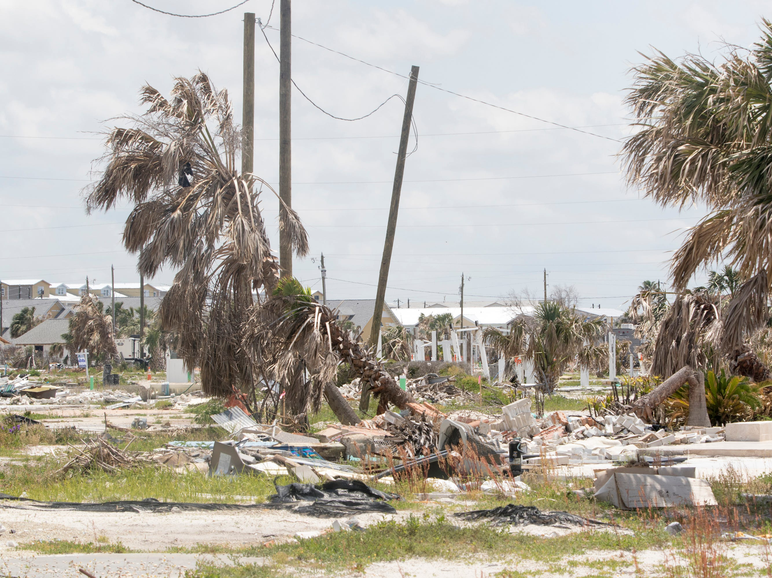 Structures still show the devastating effects of Hurricane Michael in Mexico Beach, Florida on Wednesday, May 8, 2019.  Michael made landfall as a Category 5 hurricane between Mexico Beach and Tyndall Air Force Base on October 10, 2018.