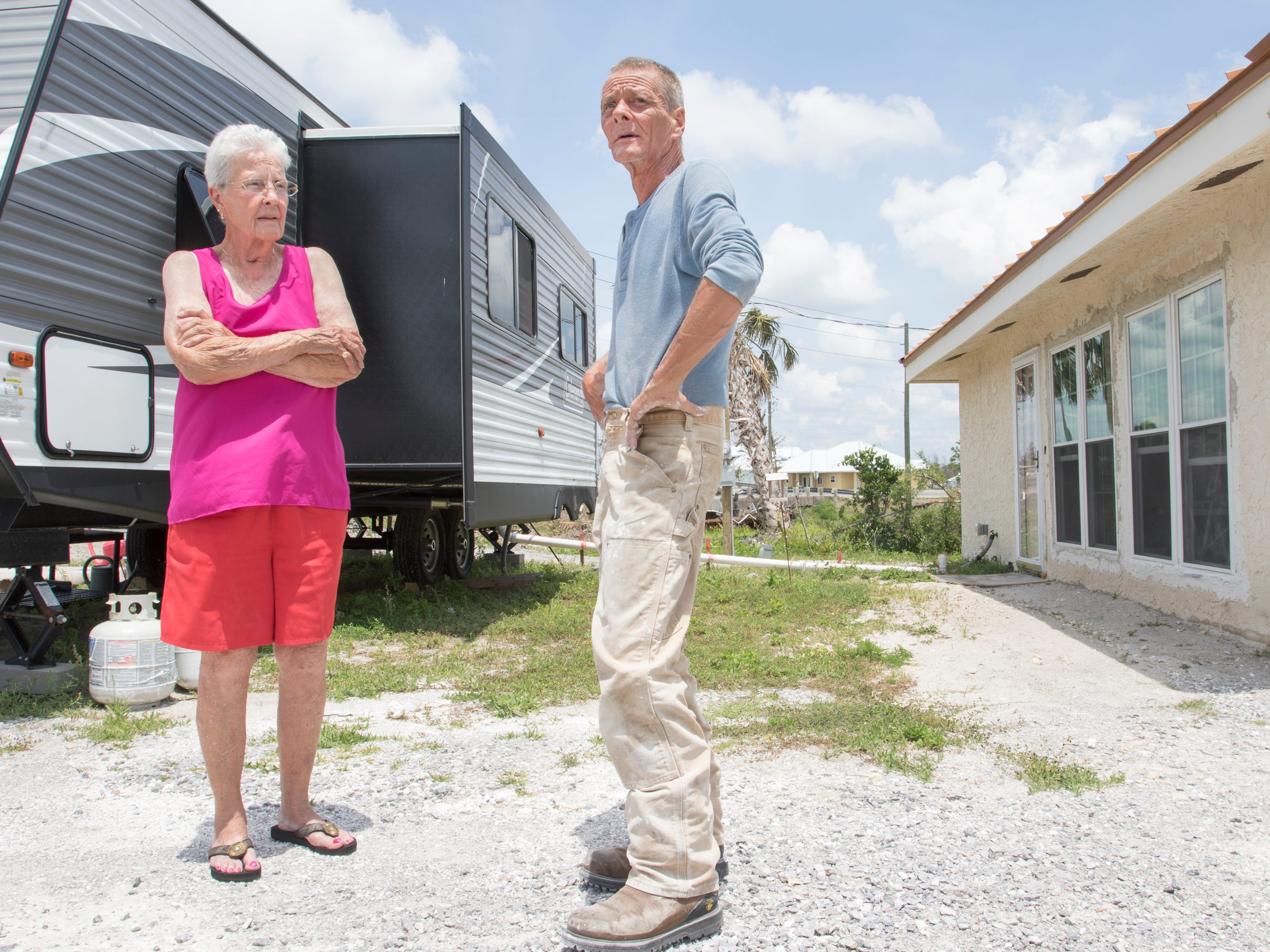 Diane Pugh and her son Bob Pugh talk about surviving Hurricane Michael in Mexico Beach.  Diane currently lives in an RV in front of her house while it is being repaired in Mexico Beach, Florida on Wednesday, May 8, 2019.