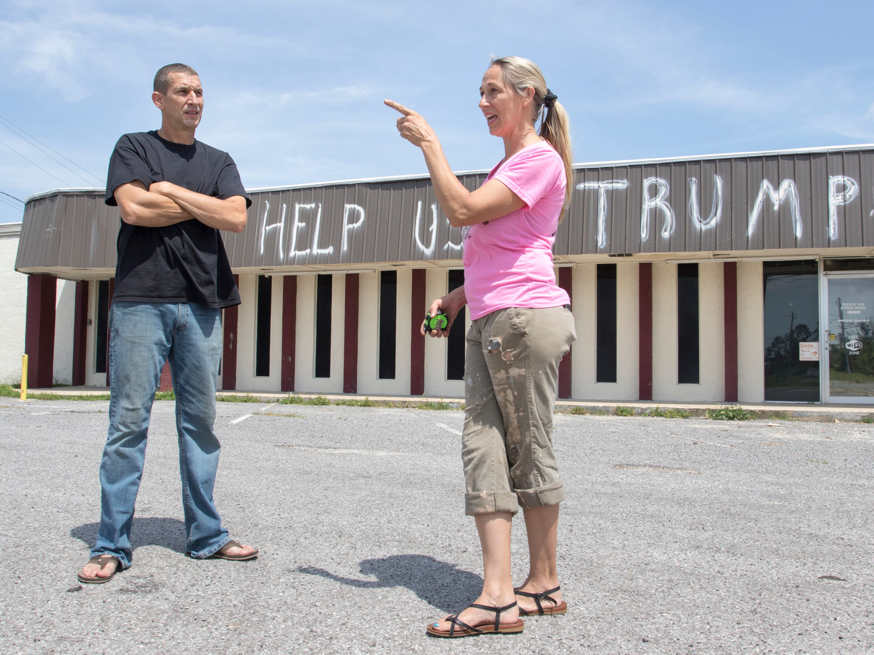 Jamie and Jennifer Burton talk about rebuilding their business after Hurricane Michael in the Panama City, Florida on Wednesday, May 8, 2019.