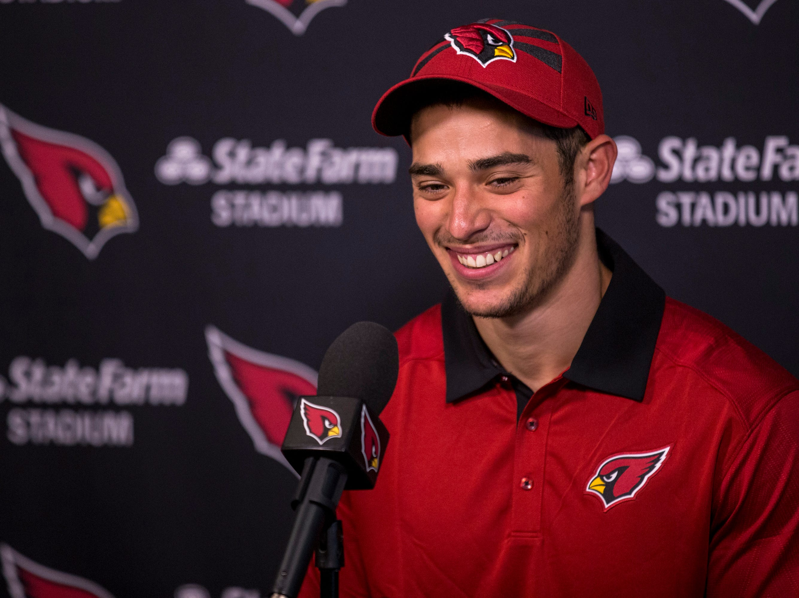 Cardinals wide receiver Andy Isabella speaks during a press conference on Thursday, May 9, 2019, in Tempe, Ariz.