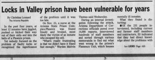 An Arizona Republic story from Dec. 21, 2000.