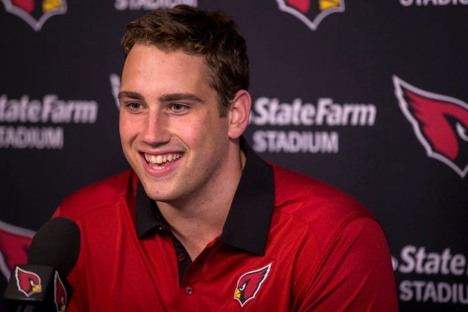 Cardinals defensive lineman Zach Allen speaks during a press conference on Thursday, May 9, 2019, in Tempe, Ariz.