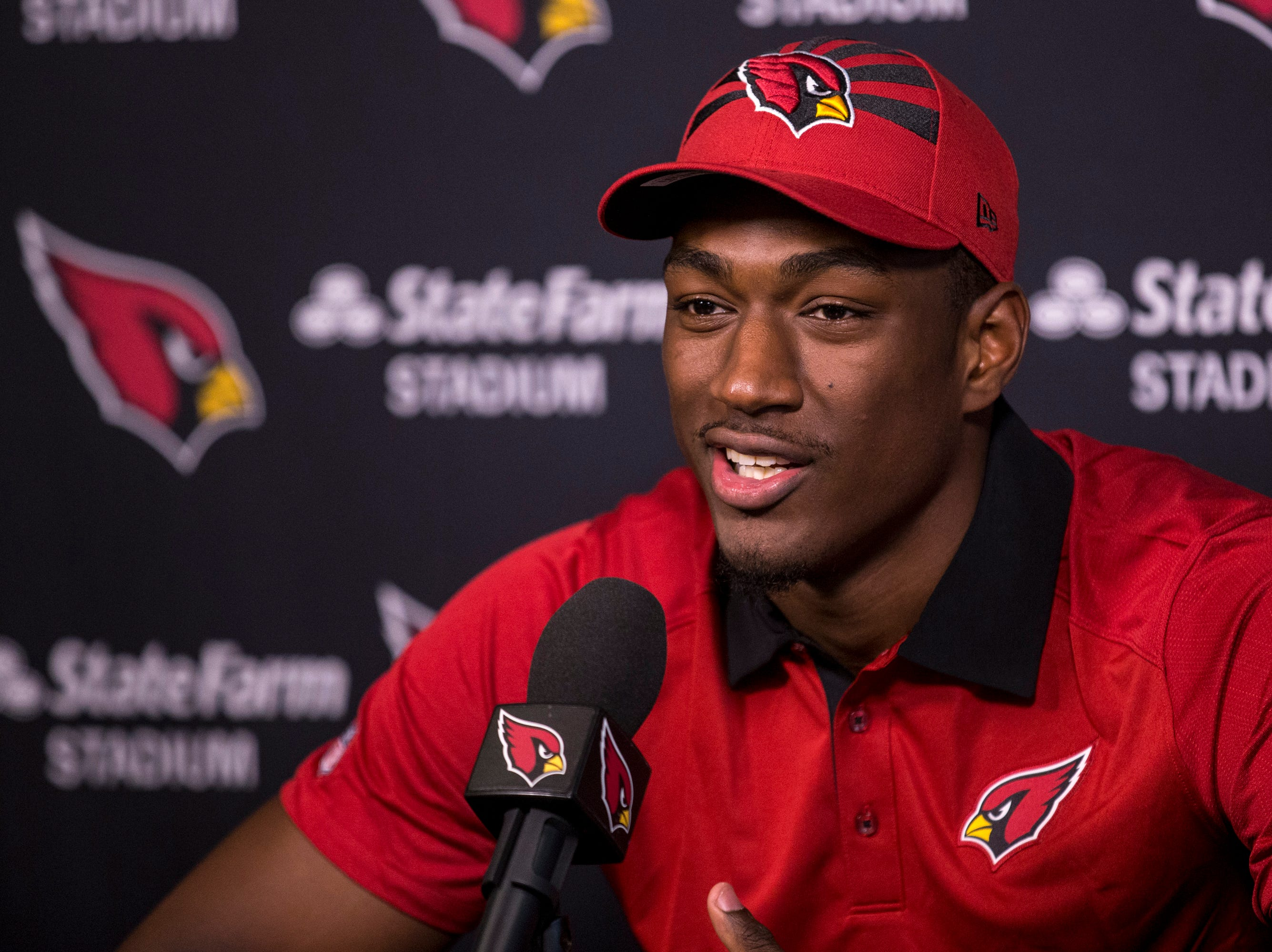 Cardinals wide receiver Hakeem Butler speaks during a press conference on Thursday, May 9, 2019, in Tempe, Ariz.