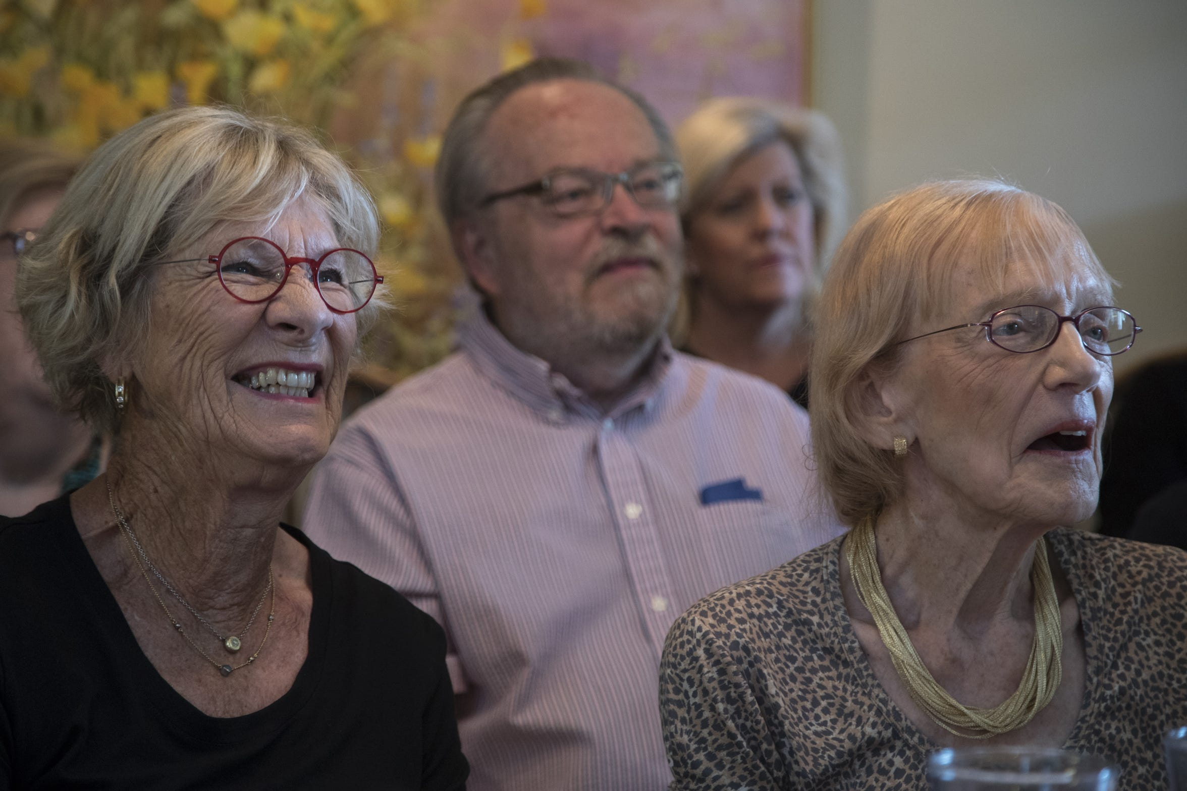 Agneta Hansson (left) and Lucy Lorenzen (right) watch chef Vincent Guerithault during a cooking class, May 7, 2019, at Les Gourmettes Cooking School, 6610 N. Central Ave., Phoenix.