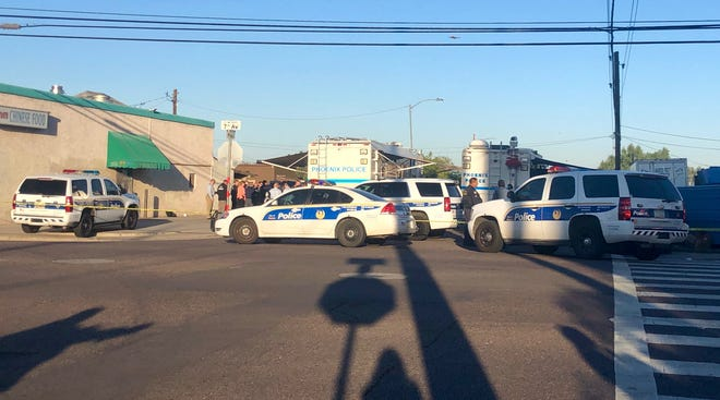 Police were at Seventh Avenue and Pima Street in Phoenix following a shooting involving an officer on May 9, 2019.