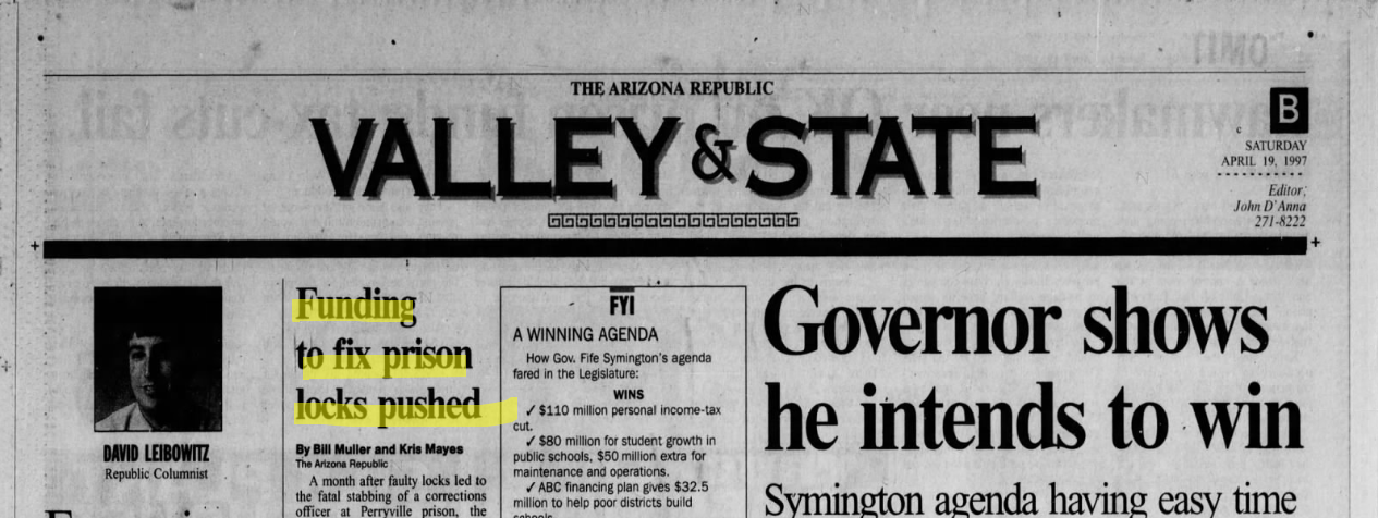 An Arizona Republic page from April 19, 1997.