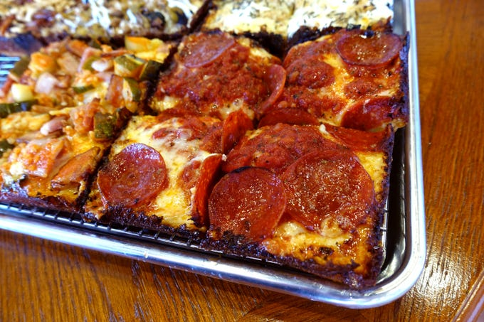 The Detroiter pizza with cheese, tomato sauce and pepperoni at The Rec Pizzeria in Peoria.