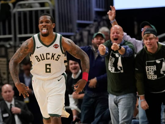 Milwaukee Bucks' Eric Bledsoe reacts to a basket during the second half of Game 5 of a second round NBA basketball playoff series against the Boston Celtics Wednesday, May 8, 2019, in Milwaukee. The Bucks won 116-91 to win the series. (AP Photo/Morry Gash)