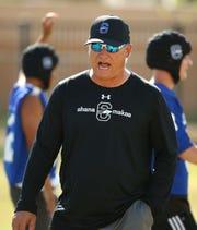 Chandler High School head coach Rick Garretson during spring football practice on May 8, 2019 in Chandler, Ariz.