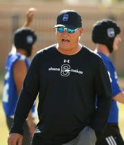 Chandler High School head coach Rick Garretson during spring football practice on May 8, 2019 in Chandler, Ariz.