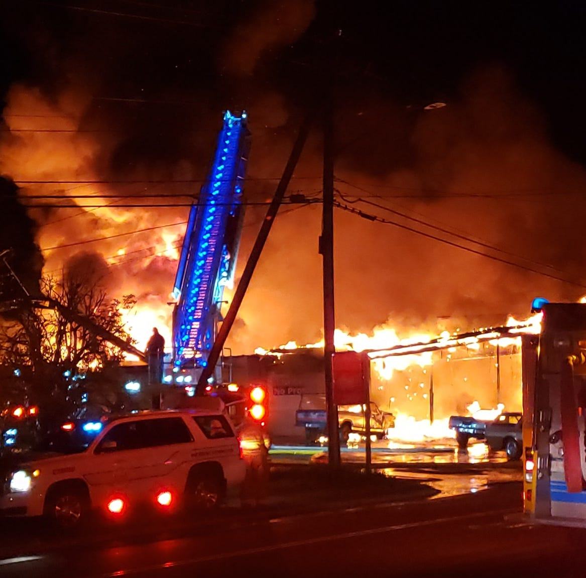 A massive fire damaged an Ellenville car dealership Thursday morning on Main Street.
