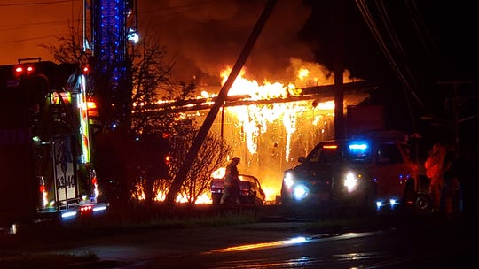 "Fire destroyed an Ellenville, N.Y., car dealership used in the filming of HBO's ""I Know This Much Is True."""