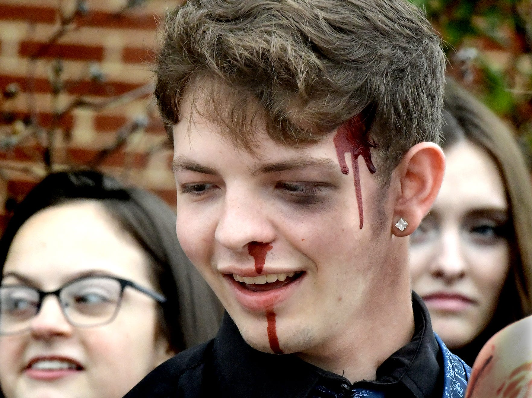 Dover High School mock accident victim, senior Bronson Bitner, sports makeup applied prior to the staging of the accident at the Dover Area High School Thursday, May 9, 2019. Local fire, ambulance and police volunteered for the event which reminds high school upperclassmen to be safe during prom season. Dover's prom in Saturday, May 11. Bill Kalina photo