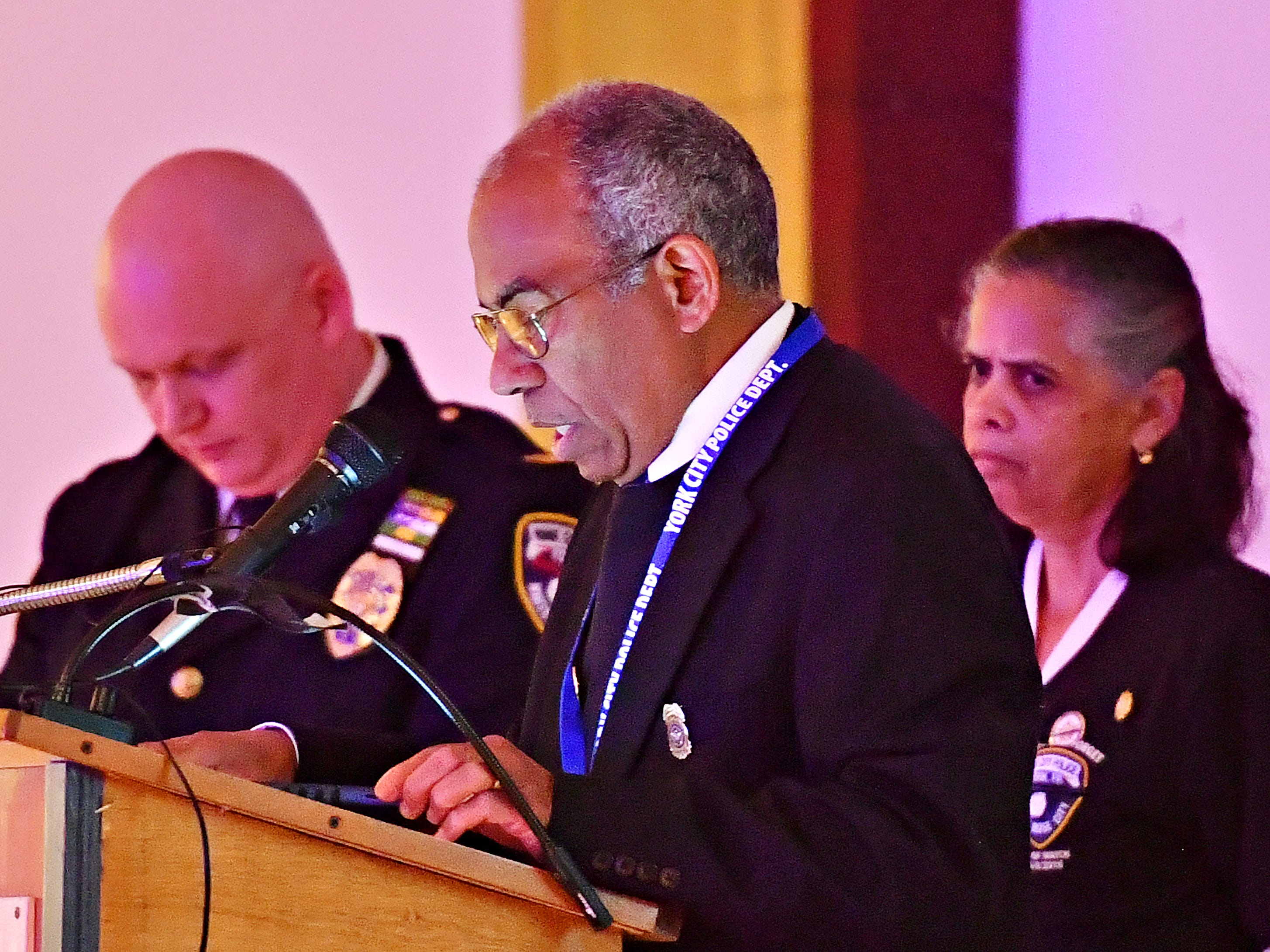 York City Police Chaplain Aliz Sable gives the invocation during the York City Police Departmental Awards Ceremony at Valencia Ballroom in York City, Thursday, May 9, 2019. Dawn J. Sagert photo