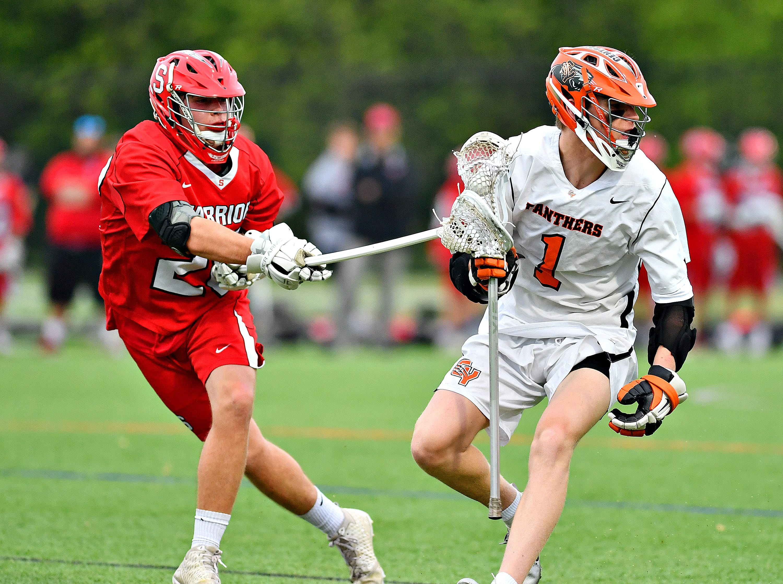Susquehannock vs Central York during boys lacrosse semifinal action at South Western High School in Hanover, Wednesday, May 8, 2019. Central York would win the game 10-4. Dawn J. Sagert photo