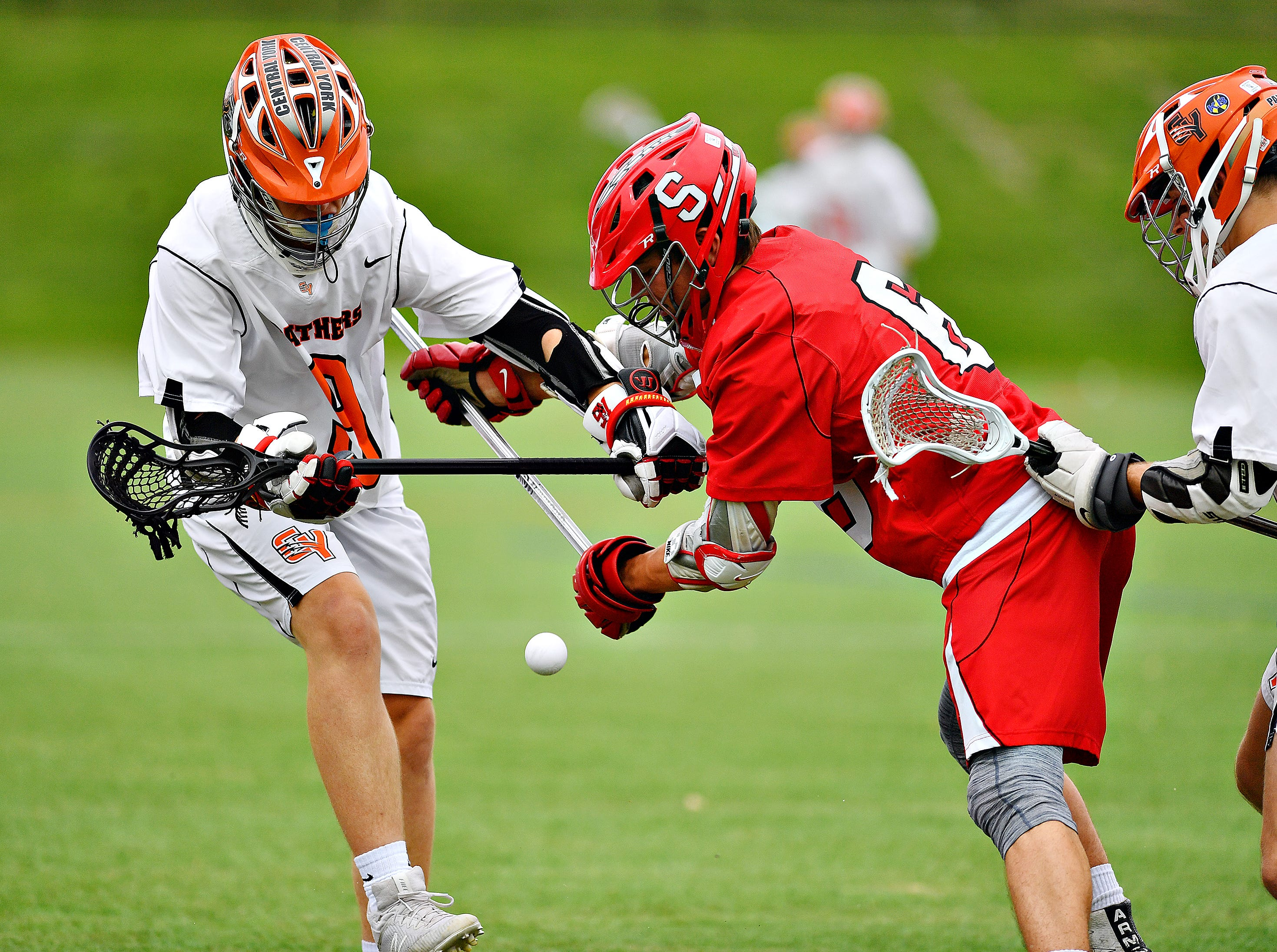 Susquehannock vs Central York during boys lacrosse semifinal action at South Western High School in Hanover, Wednesday, May 8, 2019. Dawn J. Sagert photo