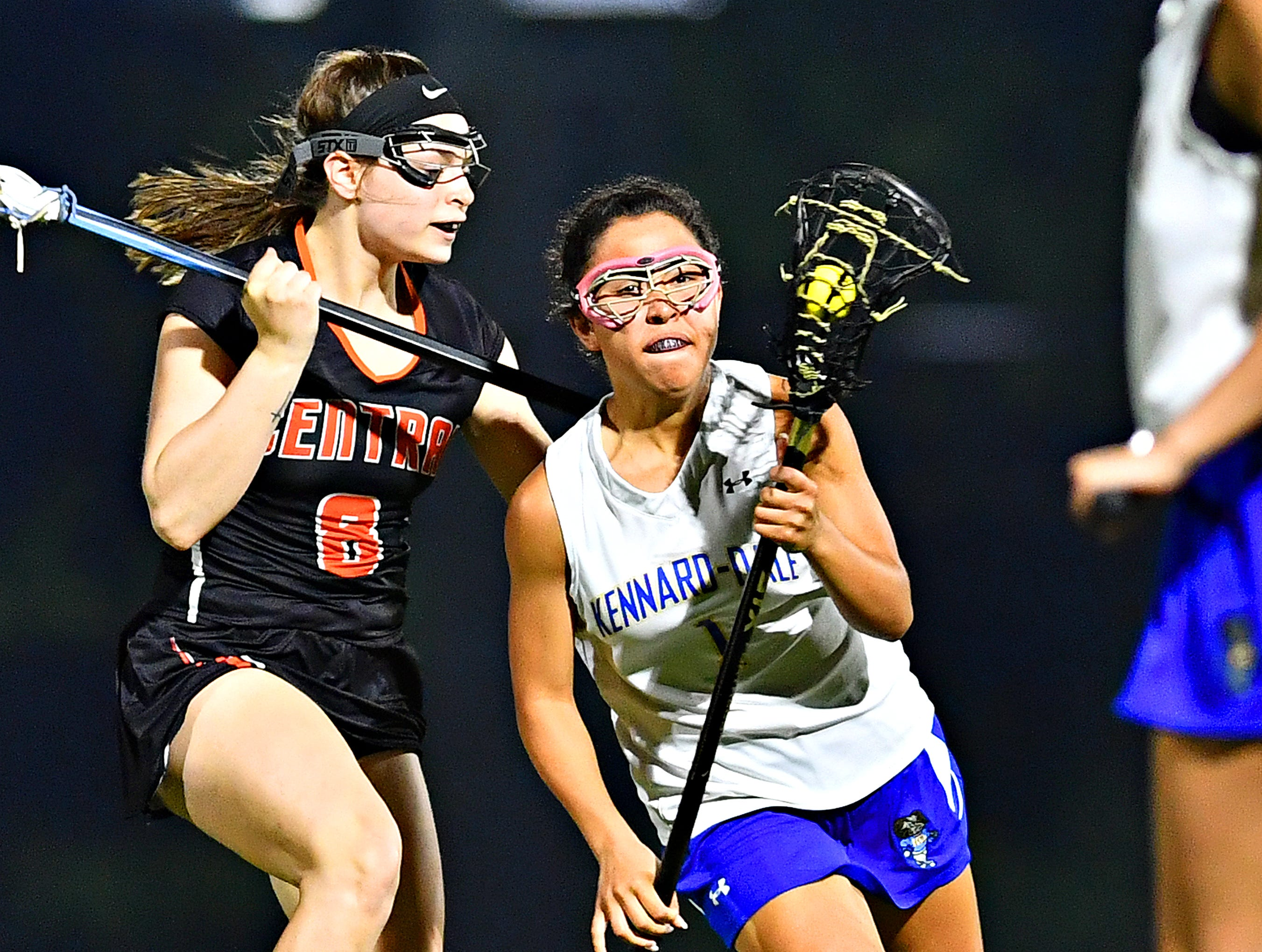 Kennard-Dale's Jenna Soukaseum, right, works to get past Central York's Emily Foxwell during girls' lacrosse semifinal action at South Western High School in Hanover, Wednesday, May 8, 2019. Kennard-Dale would win the game 19-10. Dawn J. Sagert photo