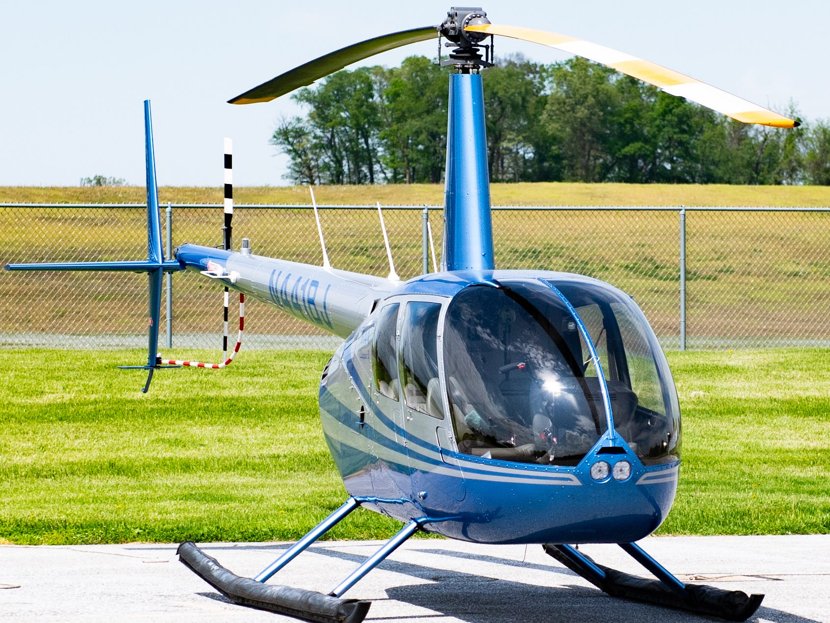 This is Judith Redlawsk's own private four-seat R44 helicopter. She got it with her husband, Bernie, and had it assembled in Torrence, California before the two flew it back to Etters, Pennsylvania.