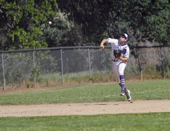 Shasta Wolves shortstop Isaiah Pena throws a ball to the plate against Pleasant Valley on Tuesday, April 30.