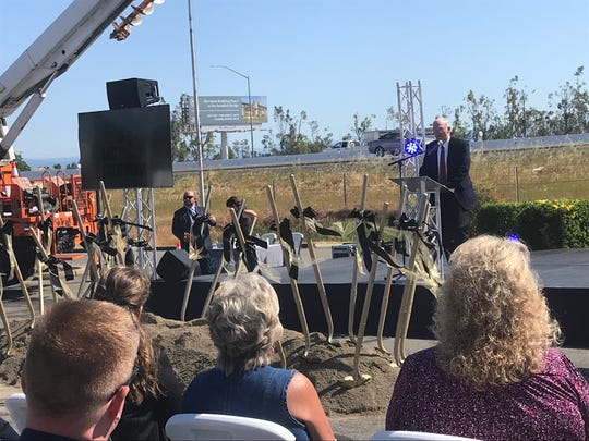 Anderson Mayor Stan Neutze addresses the gathering at the Redding-to-Anderson lane-widening groundbreaking that took place Thursday, May 9, 2019.