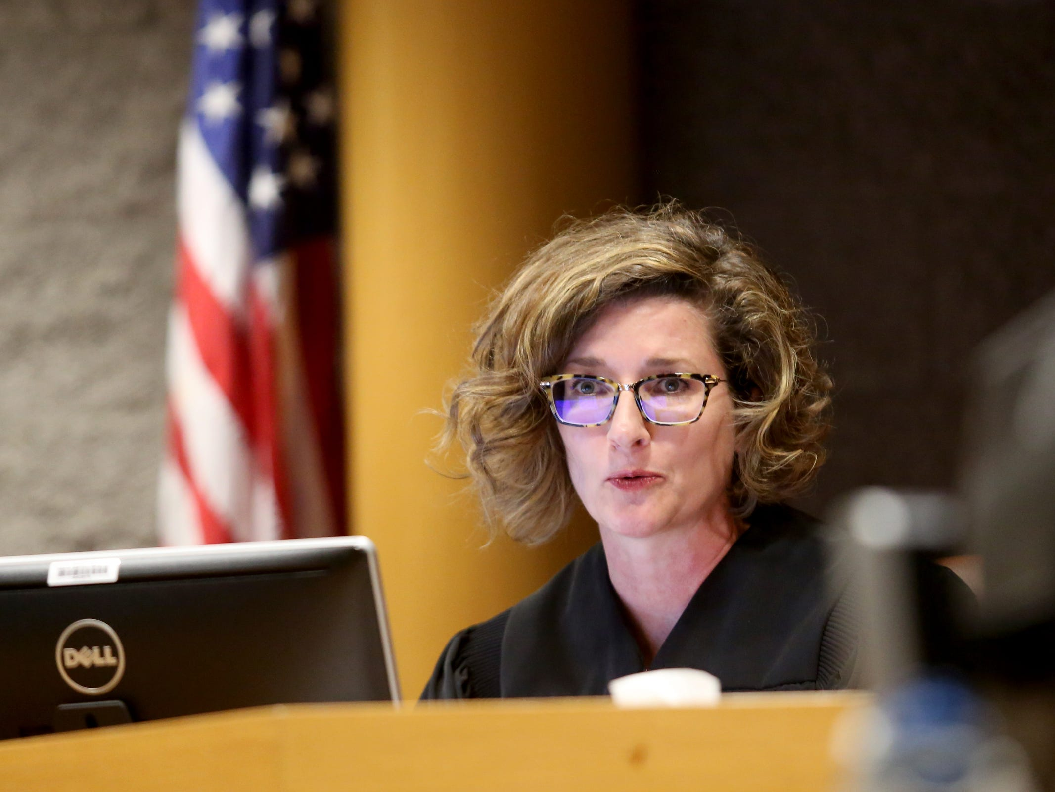 Judge Jennifer Gardiner speaks during an arraignment for Keonte Caldwell and Curtis Welch on two aggravated murder charges and one attempted aggravated murder charge at the Marion County Court Annex in Salem on May 9, 2019. Both men charged in the shooting are both being held without bail.