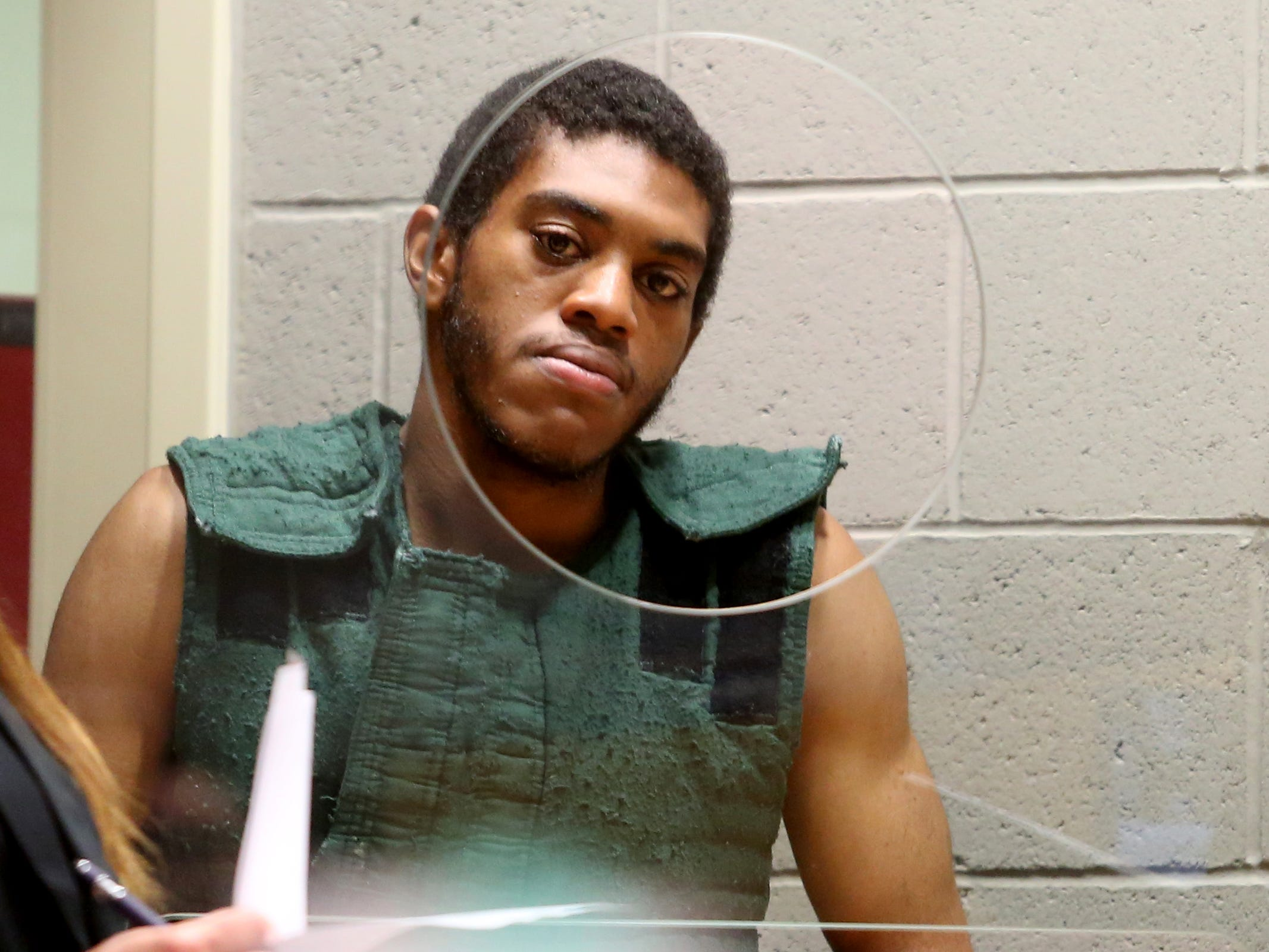 Keonte Caldwell appears for his arraignment on two aggravated murder charges and one attempted aggravated murder charge at the Marion County Court Annex in Salem on May 9, 2019. He and another man charged in the shooting are both being held without bail.