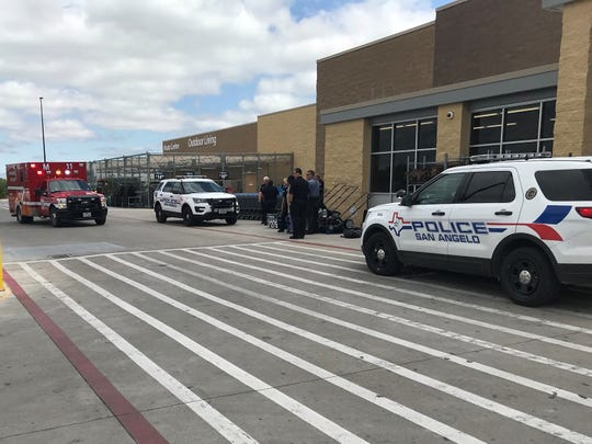 San Angelo police and first responders arrive at a south San Angelo Walmart on Thursday, May 9, 2019.