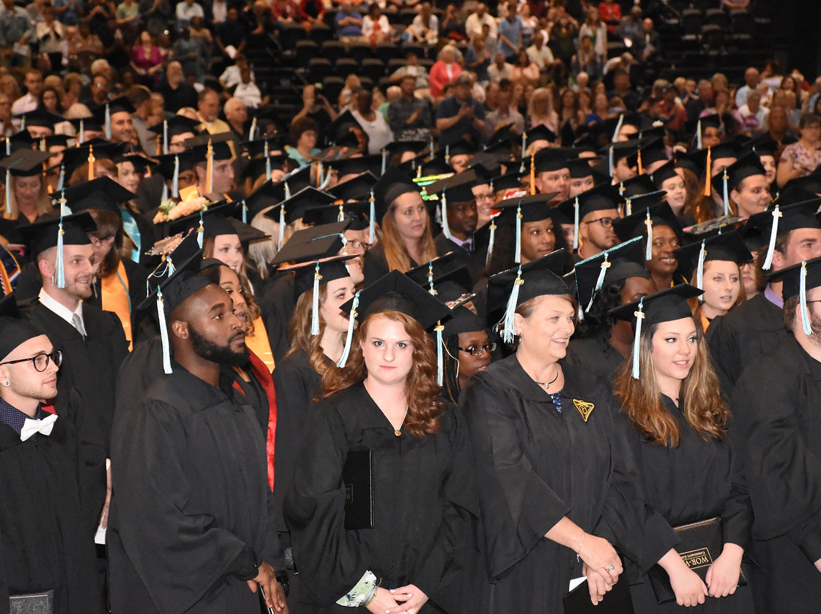 Graduates prepare to exit the ceremony after receiving their degrees at Wor-Wic Community College commencement exercises.