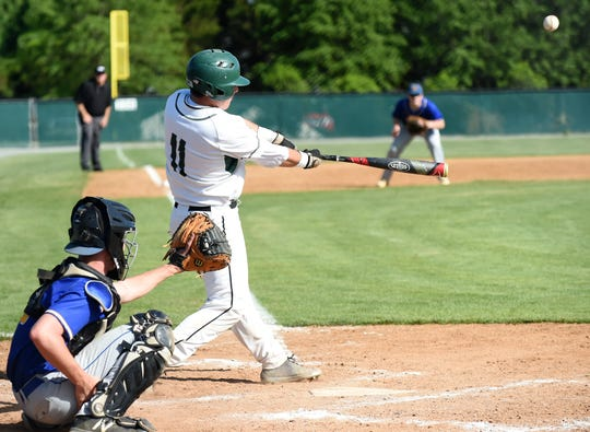Parkside High School's Brady Smith gets a hit against Wi-Hi in the first round of the state tournament on Thursday, May 9, 2019.