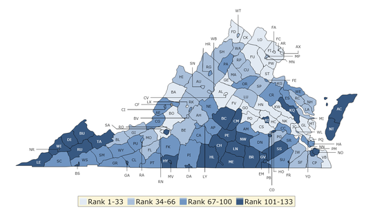 2019 Virginia Health Factors Map