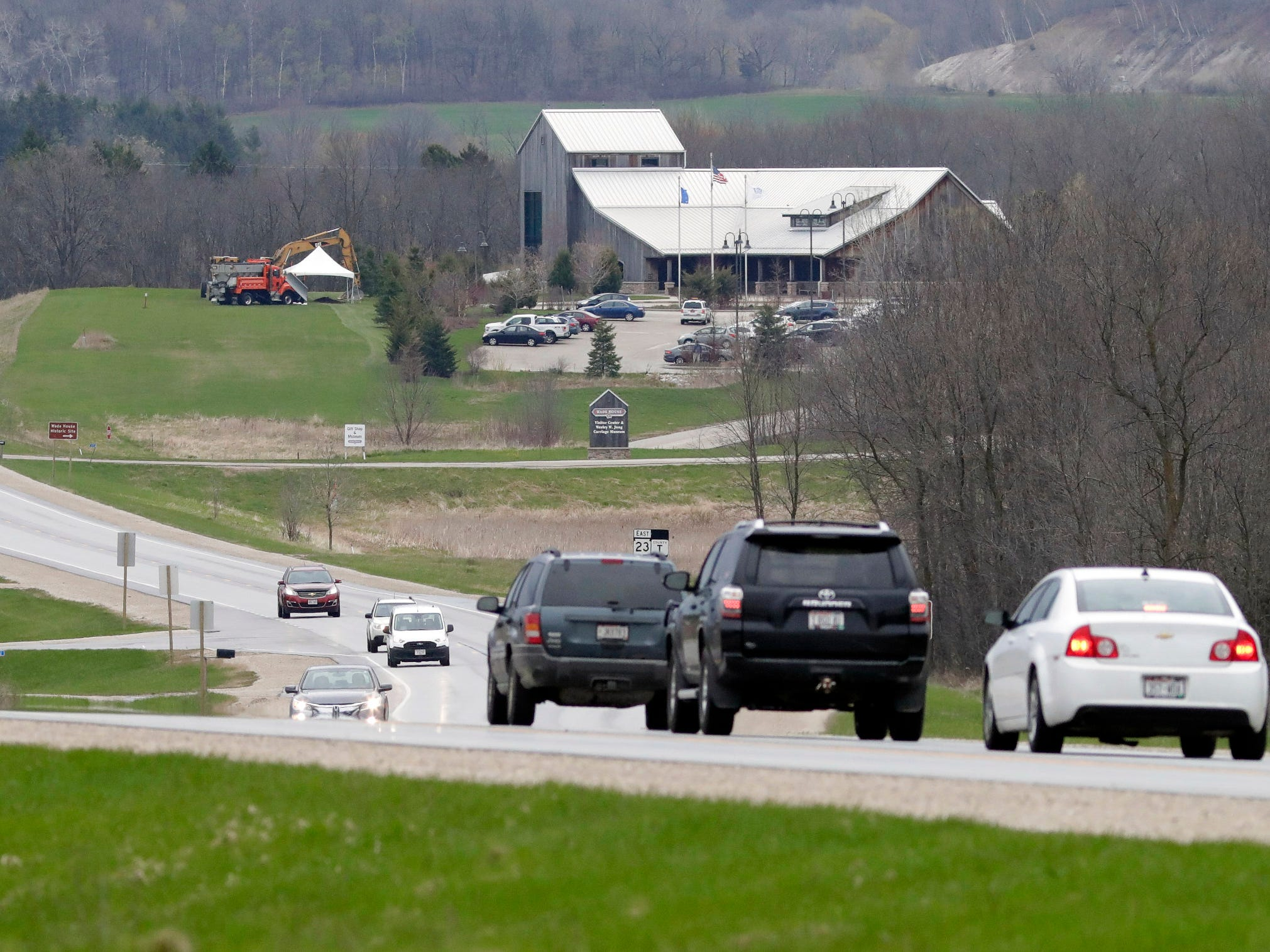 Traffic flows along westbound state Highway 23, Wednesday, May 8, 2019, at the Wade House in Greenbush, Wis.  Officials said that the construction to expand two-lane to four-lane will start May 13, 2019.