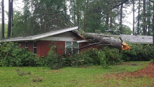 A tree fell onto a residence Wednesday night in the 1200 block of Old Plain Dealing Road in Bossier Parish. The occupants of the home were reported to be OK.