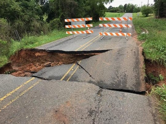 Linton Road near Downs Road in Bossier is closed Thursday, May 9, 2019, because of a road cave-in.